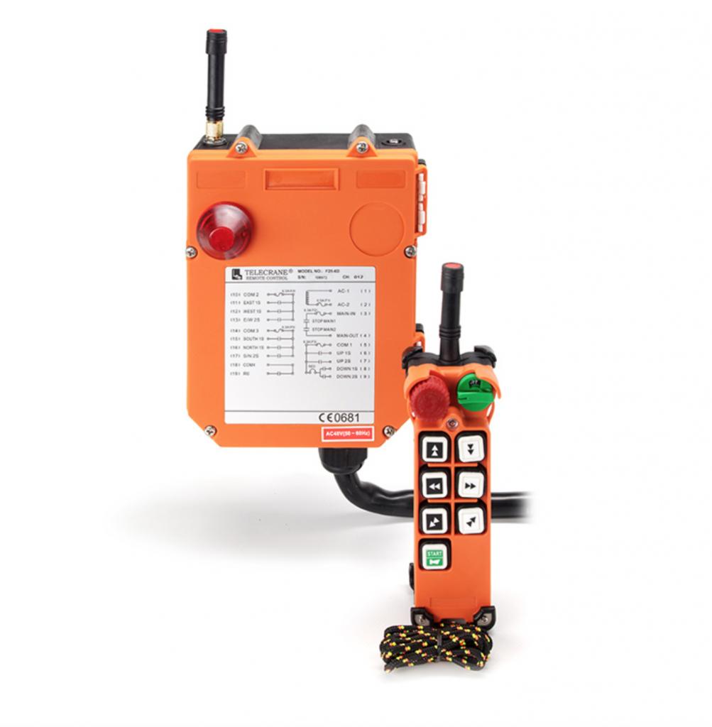 Kétfokozatú nyomógombos ipari rádió távirányítók F25-6 , F25-8, F25-10 - Eco-Cranes
