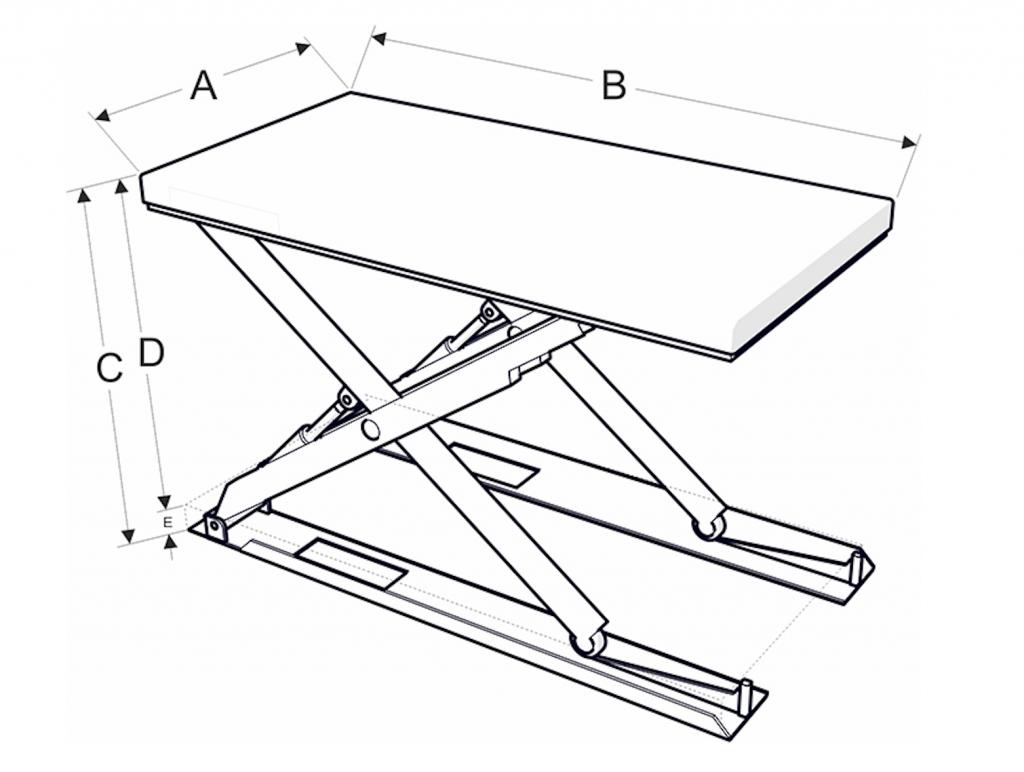 Alacsony építésű emelőasztal méretek - Eco-Cranes