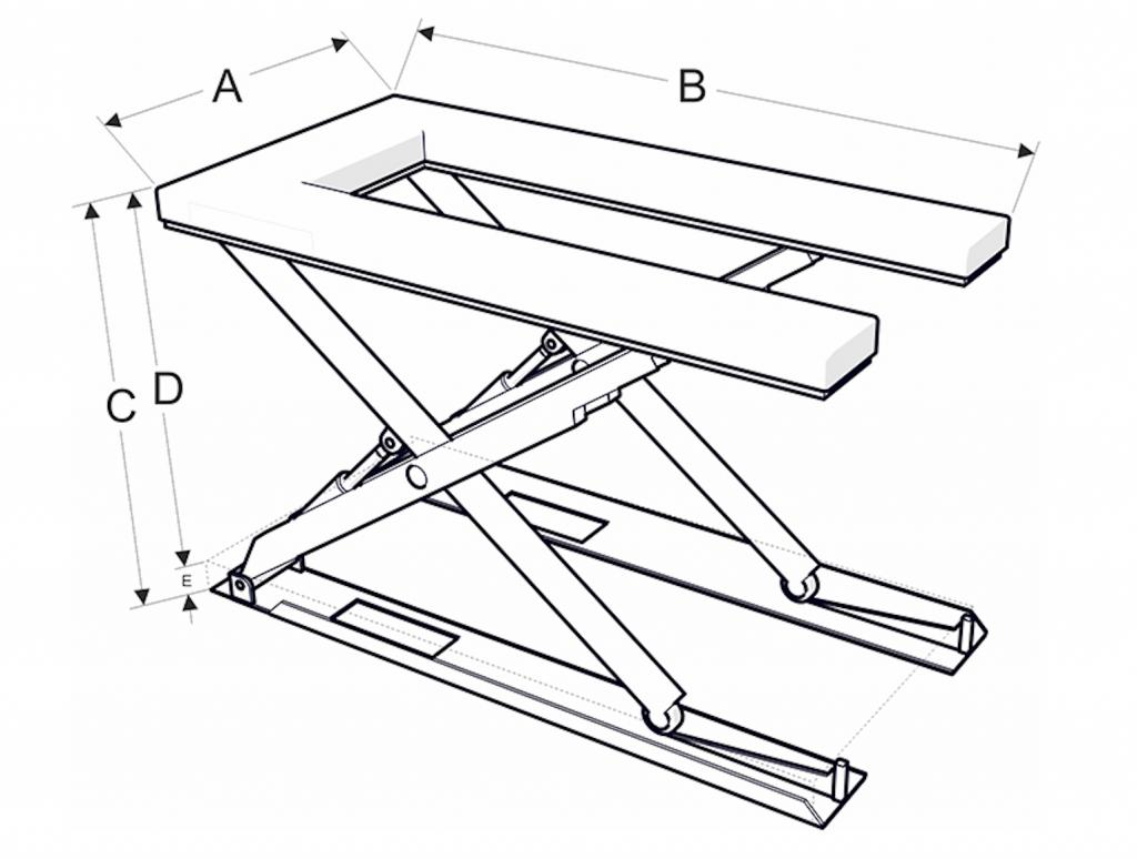 U-alakú emelőasztal méretek - Eco-Cranes