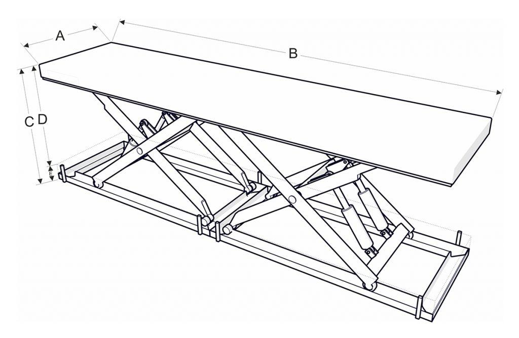 Dupla Ollós emelőasztalok méretek DIM - Eco-Cranes